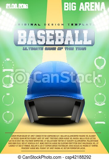 poster template of baseball with blue helmet cup and tournament