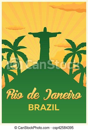 Poster Travel to Brazil, Rio de janeiro skyline. Vector illustration. - csp42584395