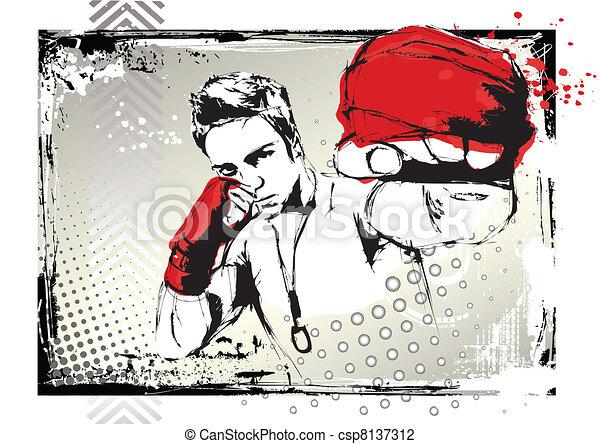 poster, vecht - csp8137312