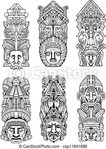 Postes, azteca, tótem. Conjunto, mesoamerican, resumen, tótem ...