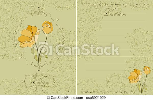 postkaart, floral, vector, groene, uitnodiging - csp5921929