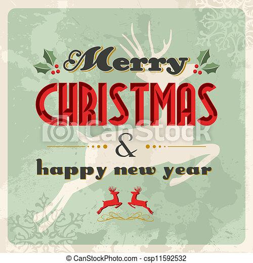 postkaart, ouderwetse , vrolijk, jaar, nieuw, kerstmis, vrolijke  - csp11592532