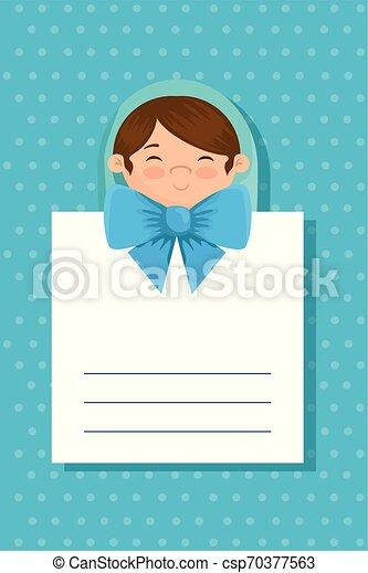 postkaart, schattig, weinig; niet zo(veel), baby jongen - csp70377563