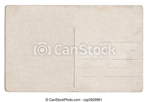 postkarte, weißes, altes , freigestellt, leerer  - csp3929961