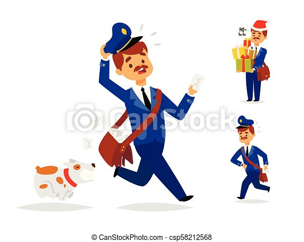 Postman delivery man character vector courier occupation carrier package mail shipping deliver professional people with envelope. - csp58212568