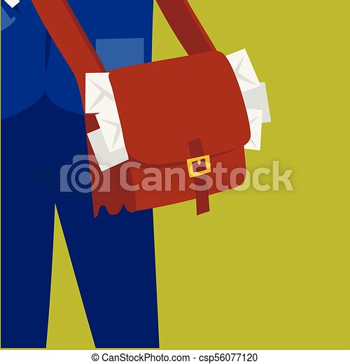 Postman delivery man character vector courier occupation carrier package mail shipping deliver professional people with envelope. - csp56077120