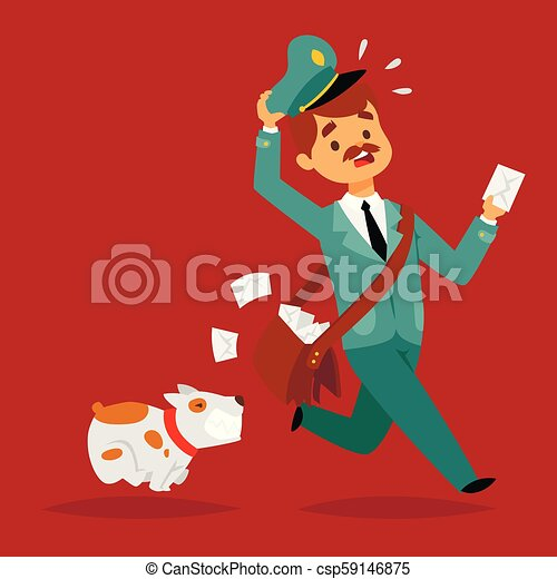 Postman delivery man character vector courier occupation carrier package mail shipping deliver professional people with envelope. - csp59146875