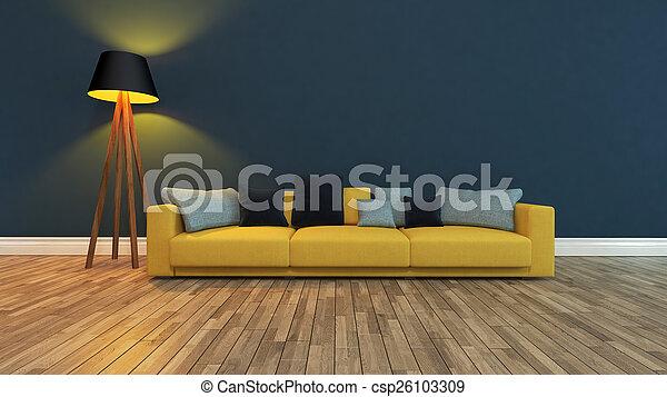 posto, parete blu, interpretazione, scuro, 3d, fronte - csp26103309