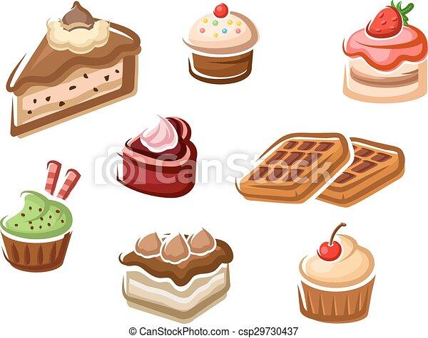 Postre, pasteles, cupcakes, barquillos. Pasteles, cupcakes, cereza ...