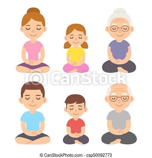 Pose de loto meditando - csp50092773