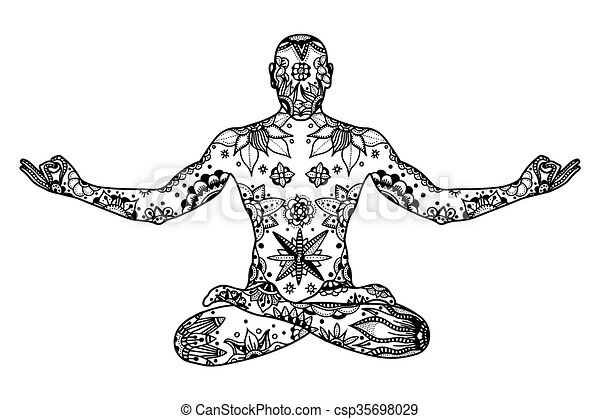 Pose de Yoga Lotus - csp35698029