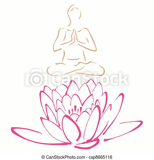 La pose de loto de yoga - csp8665116
