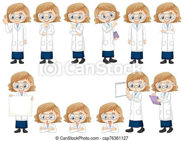 posturas, diferente, niña, bata, ciencia - csp76361127