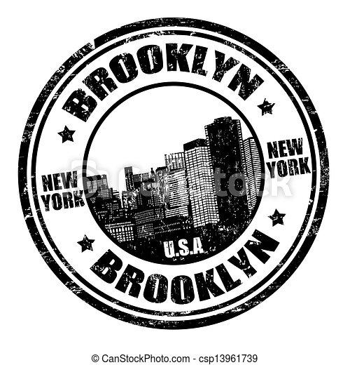 postzegel, brooklyn - csp13961739