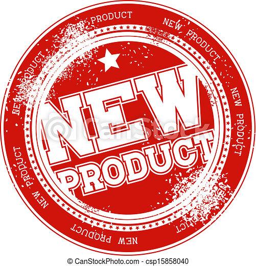 postzegel, nieuw product, vector, grunge - csp15858040