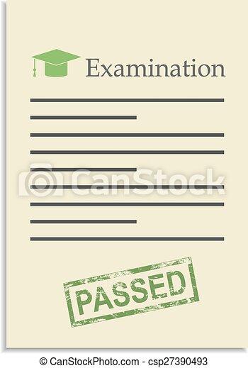 postzegel, papier, examen, geslaagd - csp27390493