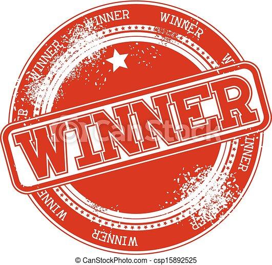 postzegel, winnaar, grunge, vector - csp15892525