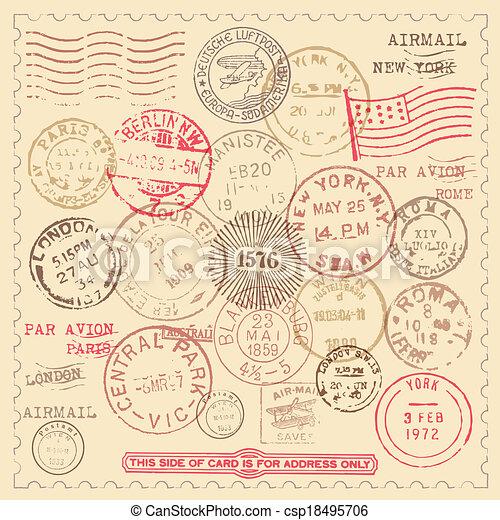 postzegels, ouderwetse , set - csp18495706