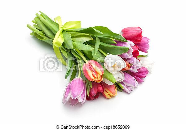 Posy of spring tulips flowers - csp18652069