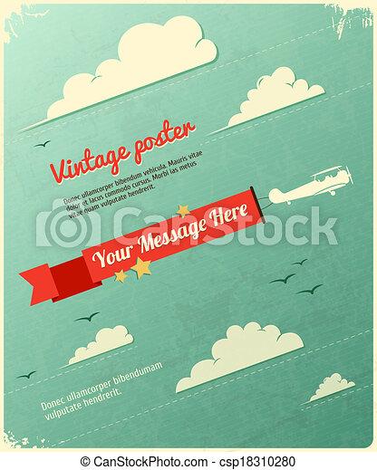 poszter, tervezés, retro, clouds. - csp18310280