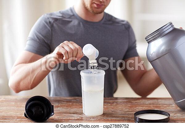 pot, haut, bouteille, secousse, fin, protéine, homme - csp27889752