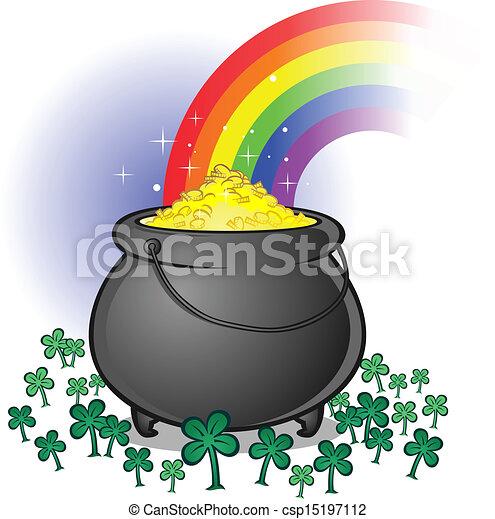 Pot of gold cartoon A pot of gold on saint patricks day a