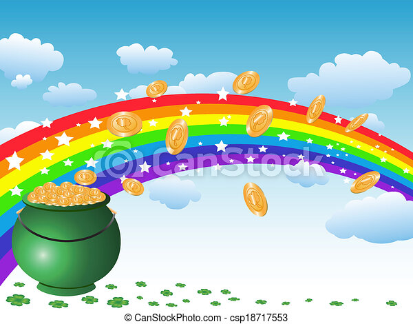 pot of gold coins and rainbow on the sky - csp18717553