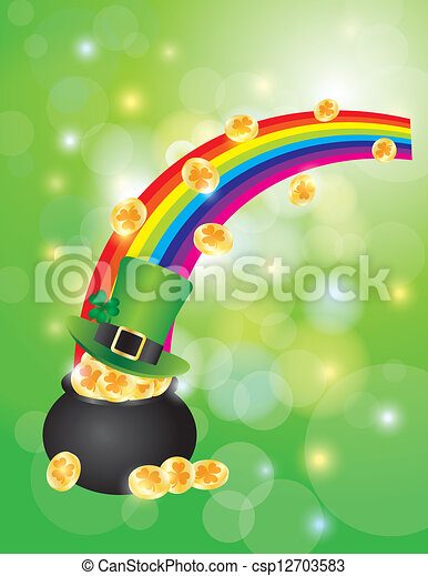 Pot of Gold with Bokeh Background Illustration - csp12703583