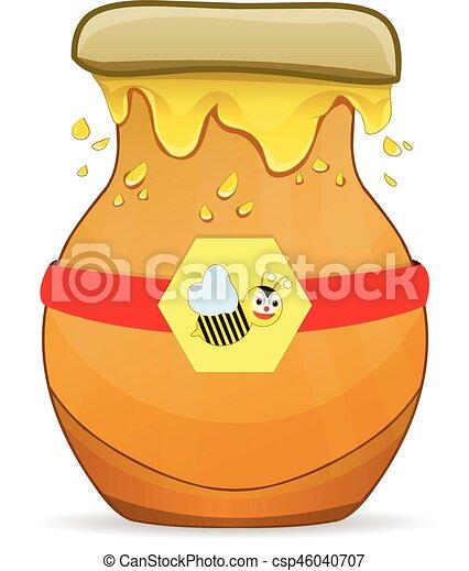 Pot Of honey with bee logo - csp46040707