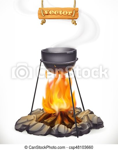 Pot Over The Campfire Camping Outdoor Cooking 3d Vector Icon