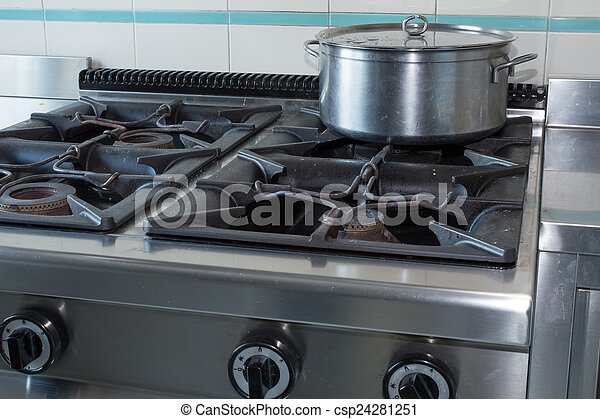 Stock Photo   Pot Over The Stove Of Industrial Kitchen In Stainless Steel
