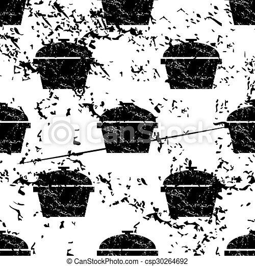 Pot pattern, grunge, monochrome - csp30264692
