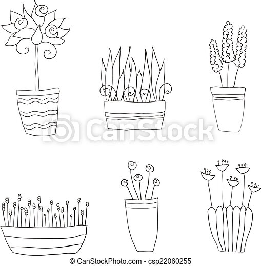 pot plants with flowers and leaves - csp22060255