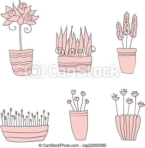 pot plants with flowers and leaves - csp22060085