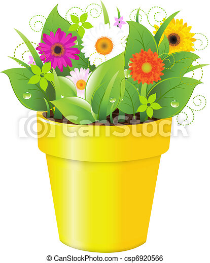 Pot With Grass And Flowers - csp6920566