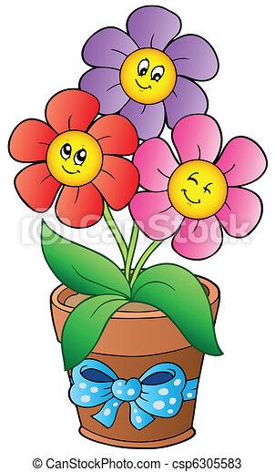 Pot with three cartoon flowers - csp6305583