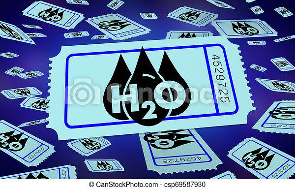 Entrada de recursos limpios de agua H20 para ganar ilustraciones 3D - csp69587930