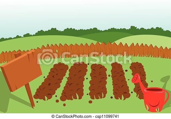 Potager jardin vecteur cultiv l gume dessin anim - Dessin de potager ...