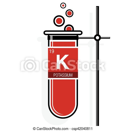Potassium symbol on label in a red test tube with holder element periodic table of vector potassium symbol on label in a red test tube with holder element number 19 of urtaz Image collections