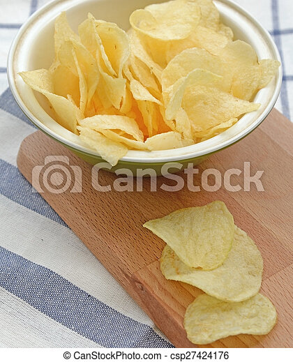 potato chips in wooden plate - csp27424176