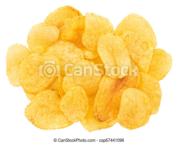 Potato chips isolated on white background. Top view - csp67441096