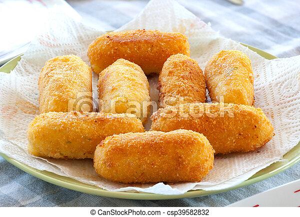 Potato croquettes fried with mozzarella cheese - csp39582832