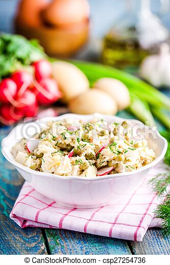 potato salad with fresh radishes and dill in a white bowl - csp27254736