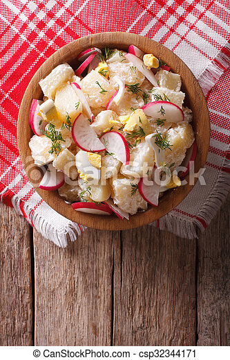 potato salad with radish and eggs in a bowl. Vertical top view - csp32344171