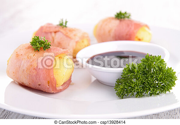 potato wrapped in bacon - csp13928414