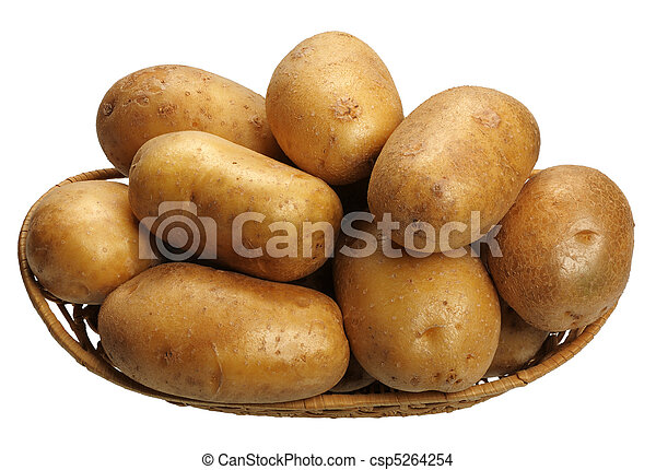 Potatoes in a basket, isolated - csp5264254