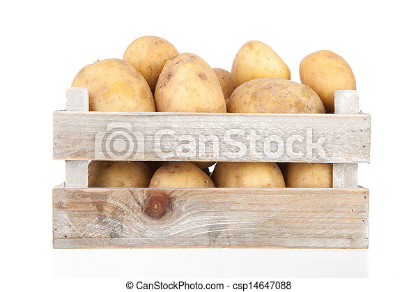 potatoes in a wooden crate - csp14647088