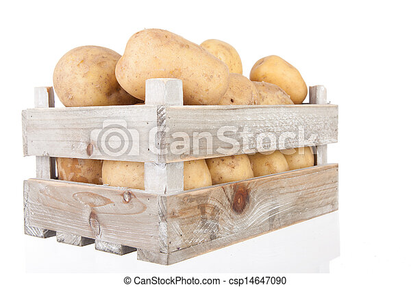 potatoes in a wooden crate - csp14647090