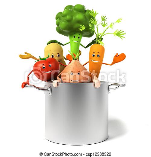 pote, cheio, legumes - csp12388322
