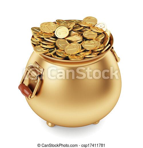 pote, moedas, ouro - csp17411781